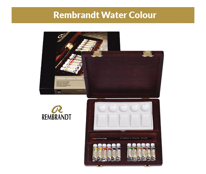 Rembrandt set of Watercolor 12 tubes - wooden case