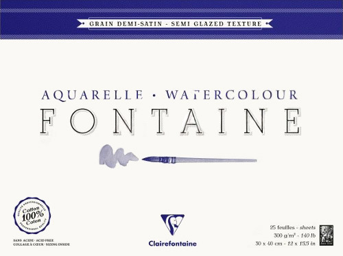 Blok Clairefontaine fontaine demi satine 30x40 300g 25ark