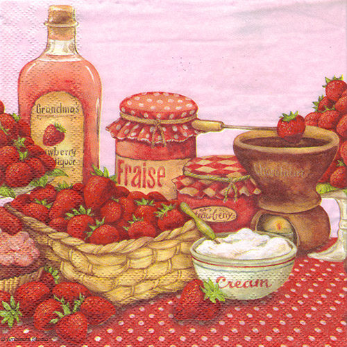 Serwetka do decoupage Ambiente 23-13308420 Strawberry flavor