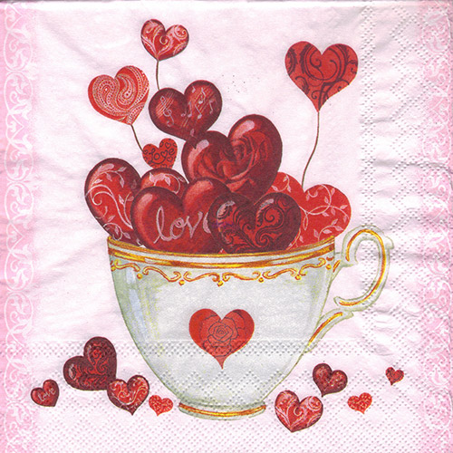 Serwetka do decoupage Ambiente 22-13309325 cup of hearts