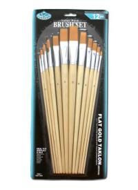 The set of 12 brushes ROYAL series RL9603 golden synthetic flat