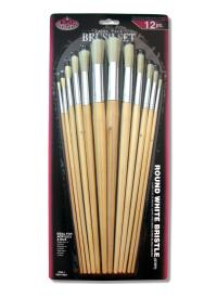 The set of 12 brushes ROYAL series RL9602 white bristles round