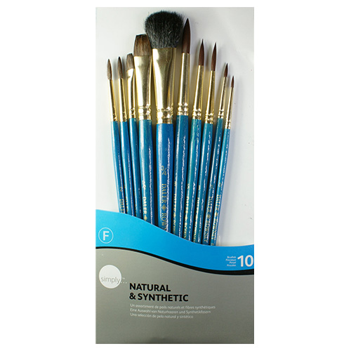 Set of 10 natural and synthetic brushes Simply Daler Rowney