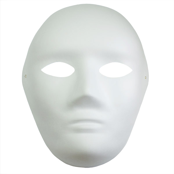 Paper Mache Mask with elastic band Adult Face