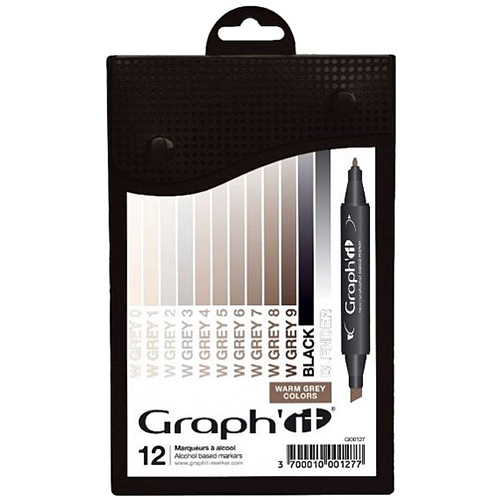 Set of 12 markers Graphit Warm grey