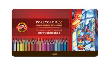 Koh-i-poor polycolor set of 72 artistic colored pencils, metal p
