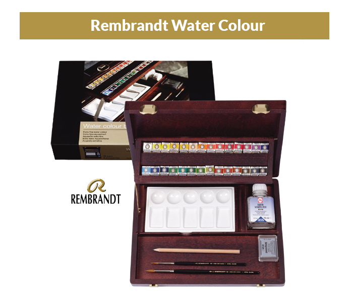 Set of watercolors in a wooden case. 28 col Rembrandt - Royal Ta