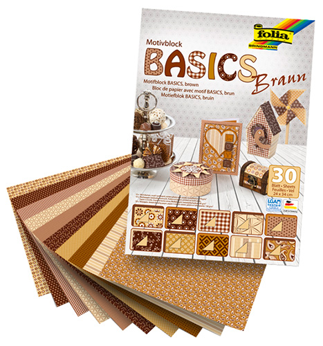 Motiv Block Basic - Brown 30 sheets, Folia Bringmann