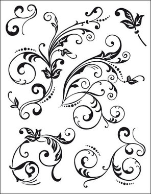 Viva Decor A5 Clear Silicone Stamps Set - Floral Embellishments