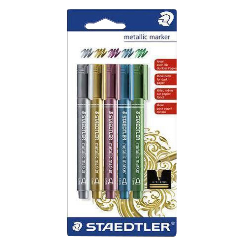 Set of 5 metallic Staedtler 1-2mm markers