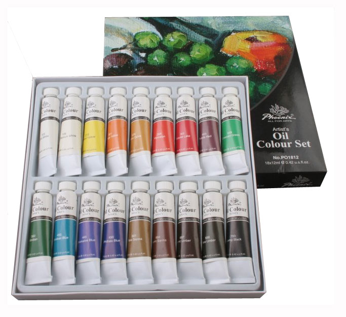 Phoenix oil paints set - 18 colors