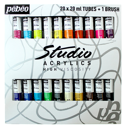 Pebeo Studio set of acrylic paints 20x20ml + brush