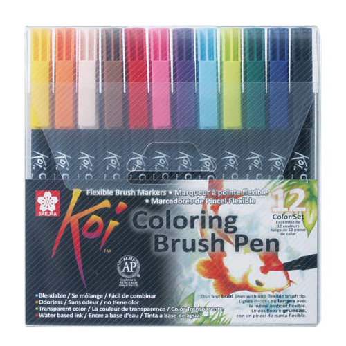 KOI Coloring Brush Pen Set of 12 pens