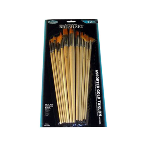 The set of 12 various brushes- gold synthetic hair