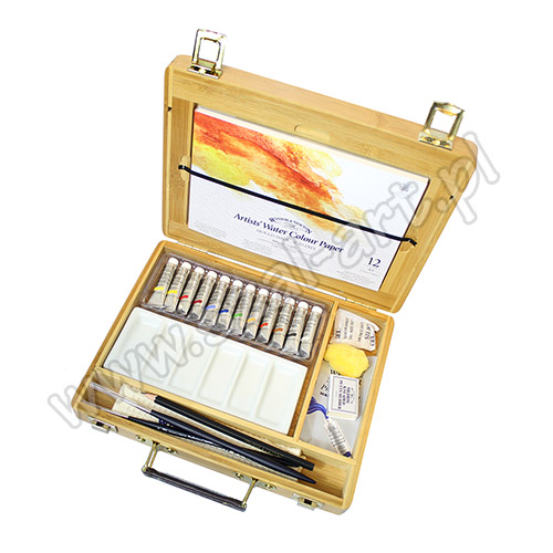 Winsor&Newton artists water colour tuby bamboo set + akcesoria