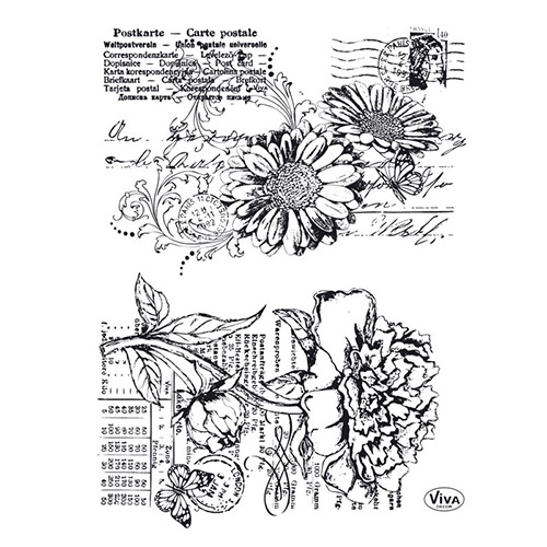 Viva Decor A5 Clear Silicone Stamps Set - Gerbera & Peony