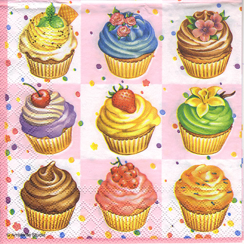 Serwetka do decoupage Ambiente 7-13306596 cupcakes square pink