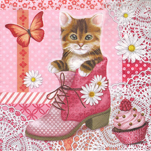 Serwetka do decoupage Ambiente 22-13309035 cat in shoe