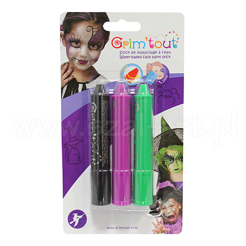 Set of 3 pieces of crayons Face Halloween Grim Tout
