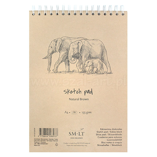 Szkicownik SM-LT sketch pach natural brown 135g 80ark A4 spirala
