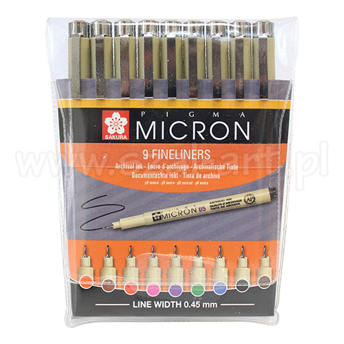 Set of 9 Pigma Micron Sakura coloured pigtails
