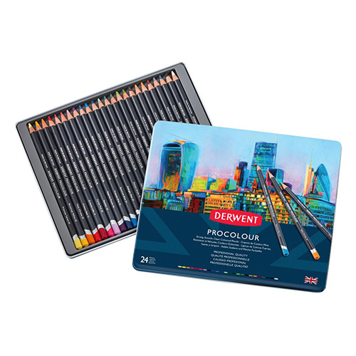 Set of 24 artistic pencils Derwent Procolor metal pack
