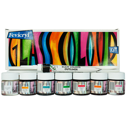 Set of paint in glass Fevicryl Glass Color 7x10ml + contour