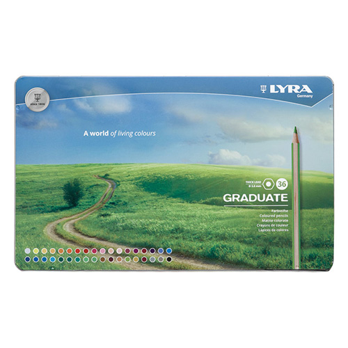 Lyra graduate 36 color metal crayons. pack.