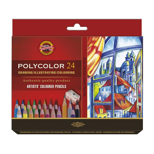 Koh-i-noor polycolor set of 24 artistic cardboard box pencils