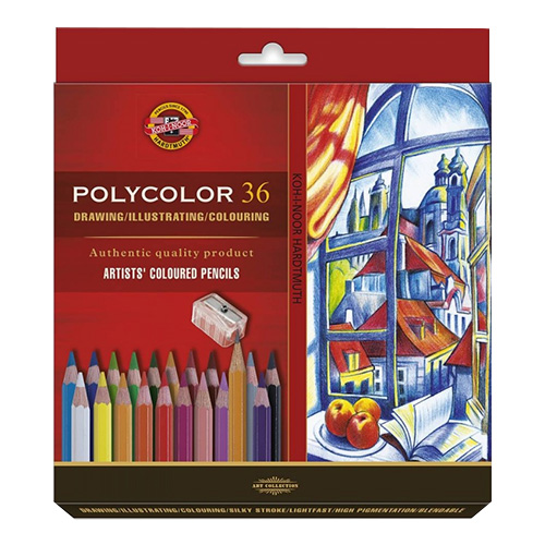 Koh-i-noor polycolor set of 36 artistic cardboard box pencils
