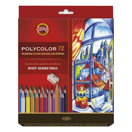 Koh-i-noor polycolor set of 72 artistic cardboard box pencils
