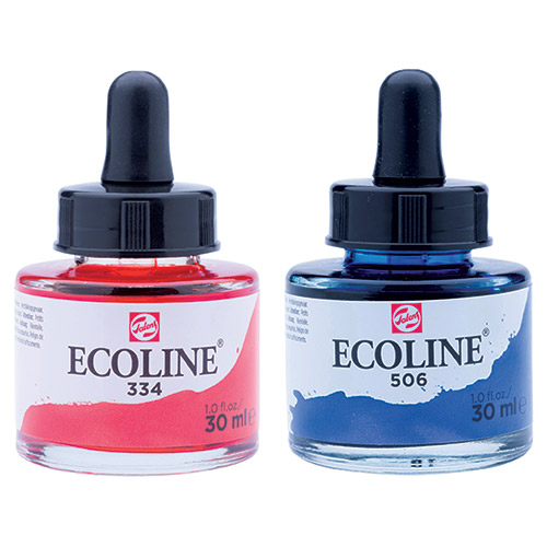 Talens ecoline water paints with a 30 ml pipette