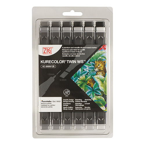 Kurecolor Twin WS Cool Gray set of 12 markers
