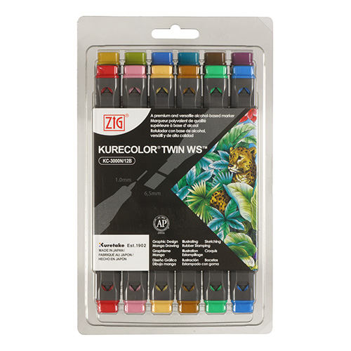 Kurecolor Twin WS Dull set of 12 markers