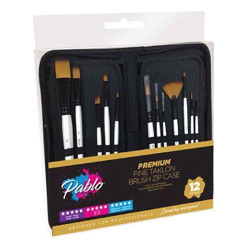 Pablo gold taklon set of 12 synthetic brushes in a case