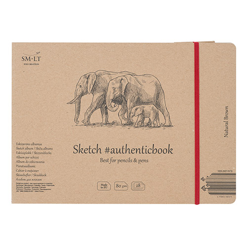 Blok SM-LT sketch pad natural brown szyty z gumką 17,5X24cm 80g