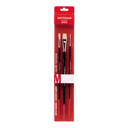 Talens amsterdam set of 3 synthetic brushes