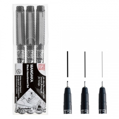 Kuretake mangaka black set of 3 markers