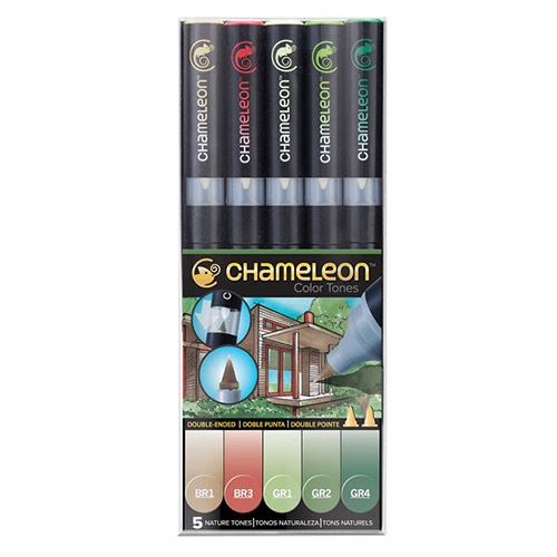 Chameleon nature tones set of 5 markers