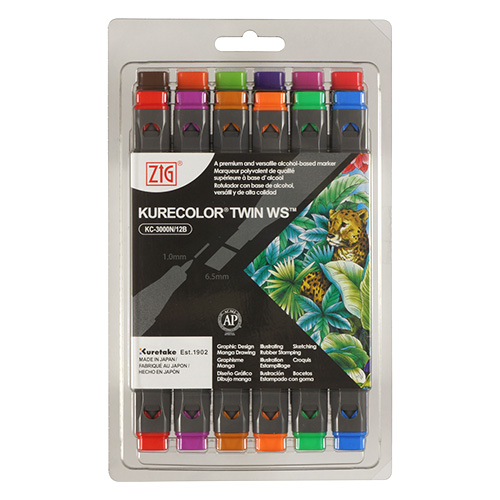 Kuretake a set of 12 kurecolor twin ws in brilliant pens