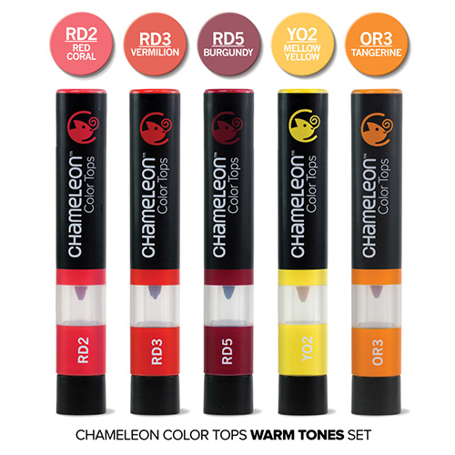 Chameleon color tops warm tones set of 5 pieces