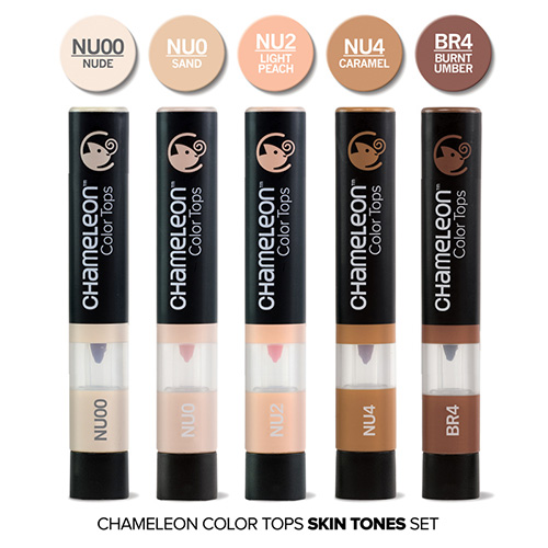 Chameleon color tops skin tones set of 5 pieces