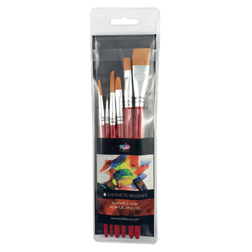 Pablo set of 6 synthetic brushes short red handle