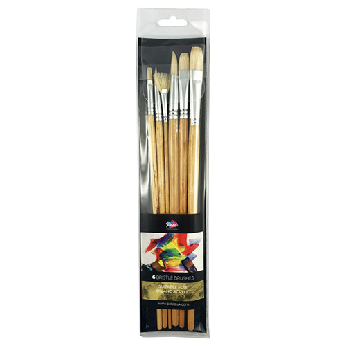 Pablo set of 6 bristle brushes, long lacquered handle