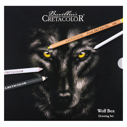Cretacolor wolf box drawing set zestaw pasteli i węgli
