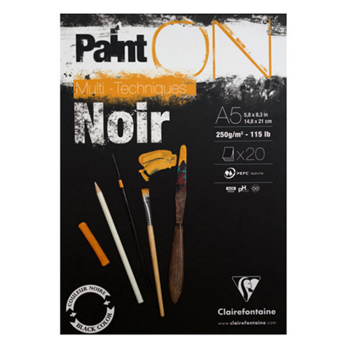 Blok Clairefontaine paint on noir 250g 20 arkuszy