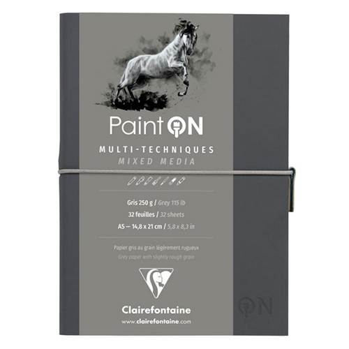 Blok Clairefontaine paint on mixed media A5 250g 32ark grey