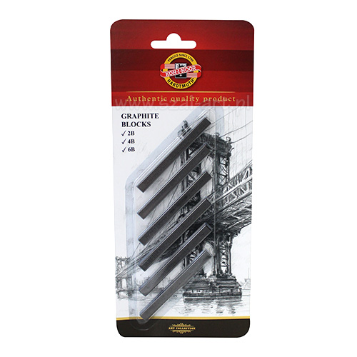 Koh-i-Noor graphite stick 2B 4B 6B on a blister of 6 pieces