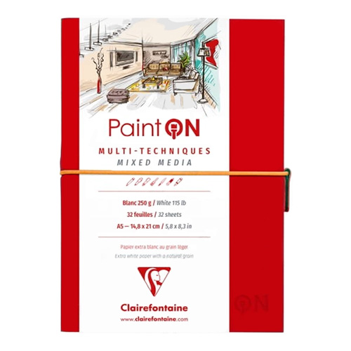 Blok Clairefontaine paint on mixed media 250g 32ark red